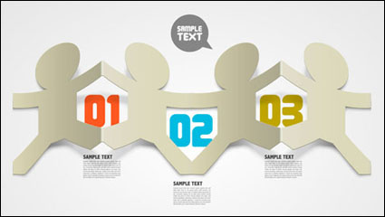Link toCreative folded hollow paper text template vector material -3