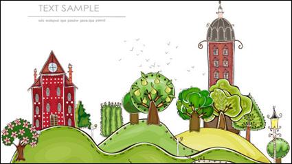 Link toCartoon city building elements vector material -1