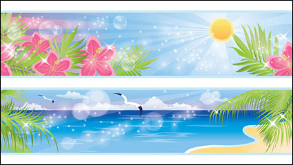 Beautiful coastal scenery 03 - vector