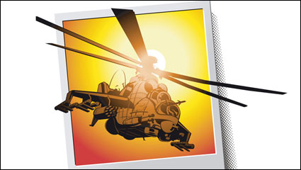 Combat helicopters - Apache - vector