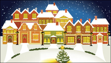 Link toCartoon christmas house background vector - 03