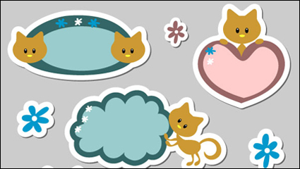 Link toCute cartoon label 01 - vector material