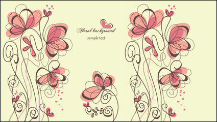 Fashion hand-painted flowers vector -1