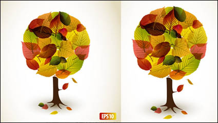 Autumn leaves graphic design vector material -2