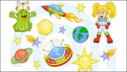 Link toCartoon space pattern 01 - vector material