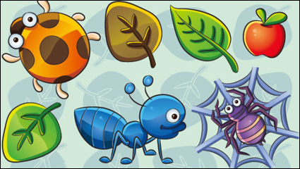 Link toThe cute insect plant 02 - vector material