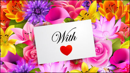 Link toValentine flowers background 01 - vector material