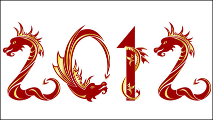 2012 Year of the Dragon creative pattern 04 - vector material