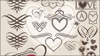 Link toEuropean-style heart-shaped lines - vector material