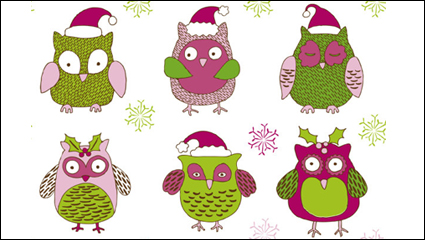 Link toCartoon christmas owl pattern 01 - vector material