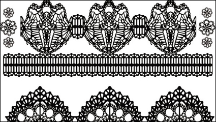 Black and white floral pattern 01 - vector material
