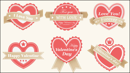Valentine labels - vector material