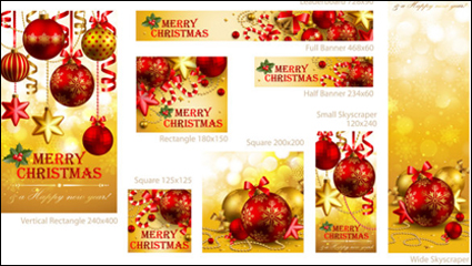 Beautiful Christmas promotional material 01 - vector material