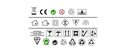 Link toCe marked, such as environmental protection trash icon