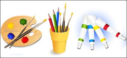 Link toPalette, brushes, color pencils, paint vector