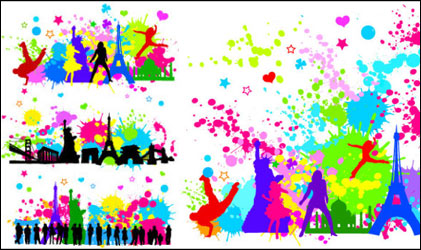 Link toTrend figures dot the city silhouette vector material