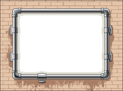 Link toWater pipes, frame, brick wall vector