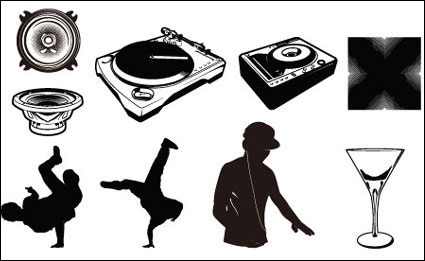 Playing disc players, vinyl discs, headphones, beverages, goblets vector