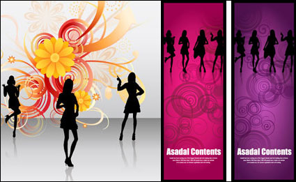 People silhouettes, flowers, vector material