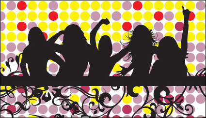 Female silhouette pattern vector material