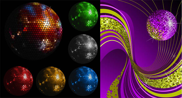 Disco crystal ball vector material