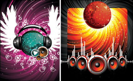Headphones, speakers, star, a crystal ball vector