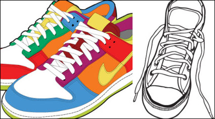Link toSports shoes and canvas shoes vector material