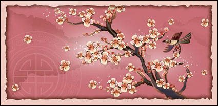 Link toMagpies, plum blossom, the branch vector