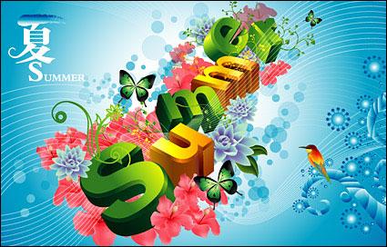 Link toSummer, flowers, butterflies, birds three-dimensional characters