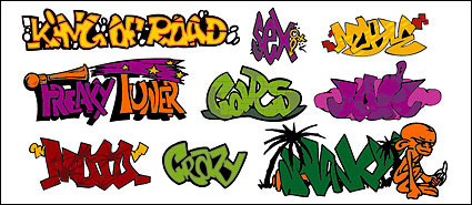 Link toGraffiti-style art fonts, paragraph 145 vector material