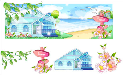 Link toHand-painted style, summer style series of vector -2