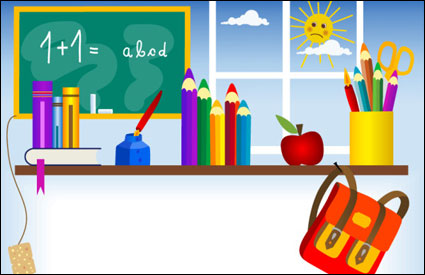 Link toStationery, blackboard, ink bottle, ink pens, books, school bags vector