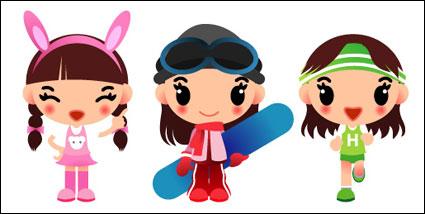 Girl Cartoon Vector Free Download Girls Skateboarding Running