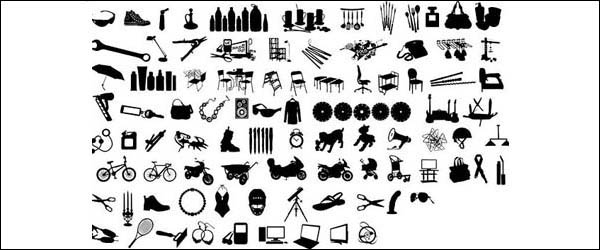 Link toSeries of black and white design elements vector material -12 (item silhouette)