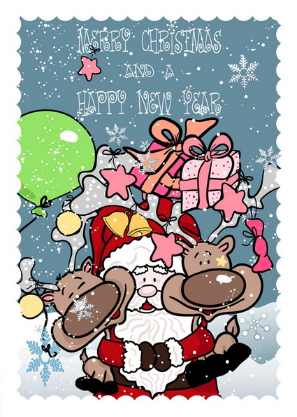 Link toHand-painted santa claus, gifts, vector