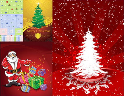 Link toGreeting cards, packing boxes, christmas gifts, shields vector