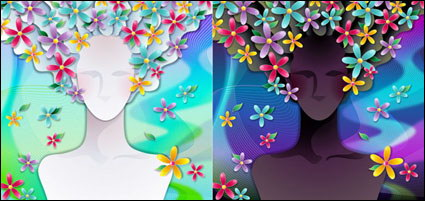 Link toWoman with flowers vector material -3