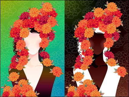 Link toWoman with flowers vector material -2