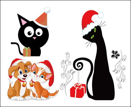 Link toDogs and cats christmas vector