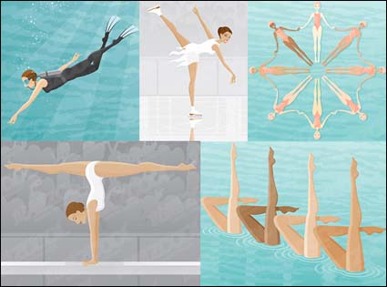 Link toScuba diving, skating, synchronized swimming, gymnastics, balance beam