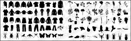 Link toT-shirt, pants, flowers, plants, insects vector material
