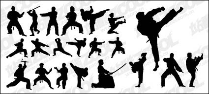 Link toKung fu action silhouette vector