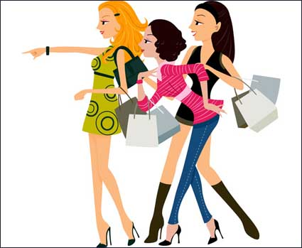 Shopping vector woman