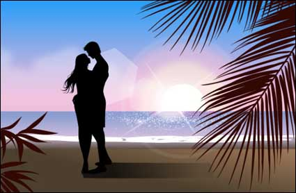 Fashionable men and women beach silhouette vector material