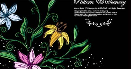 Hand-painted flowers vector-1
