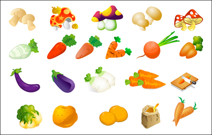 Vector vegetables – cabbage, potatoes, rice, eggplant and mushrooms radish