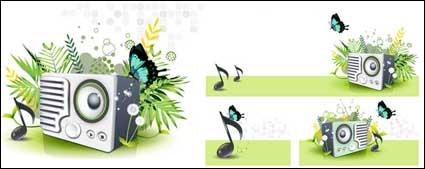 Link toMusic speaker butterfly dandelion green spring vector material