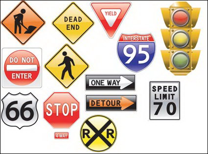 Link toTraffic signs theme vector material