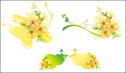 Link toFlowers leaves water stains mosaic vector material