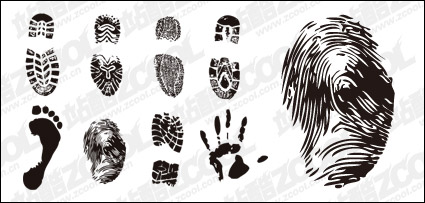 Link toFootprints, fingerprints and palm vector material